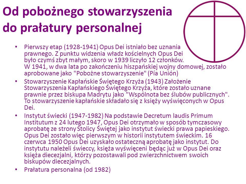 Od pobożnego stowarzyszenia do prałatury personalnej Pierwszy etap (1928-1941) Opus Dei istniało bez uznania prawnego. Z punktu widzenia władz kościel