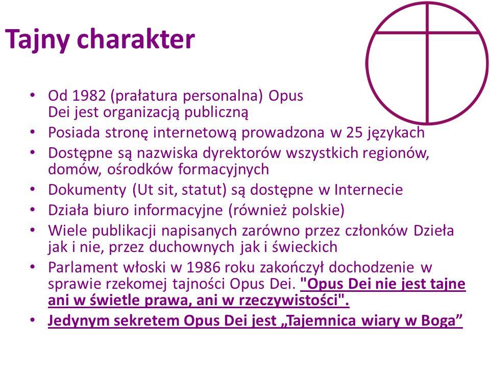Tajny charakter Od 1982 (prałatura personalna) Opus Dei jest organizacją publiczną Posiada stronę internetową prowadzona w 25 językach Dostępne są naz