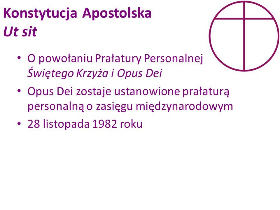 Konstytucja Apostolska Ut sit O powołaniu Prałatury Personalnej Świętego Krzyża i Opus Dei Opus Dei zostaje ustanowione prałaturą personalną o zasięgu