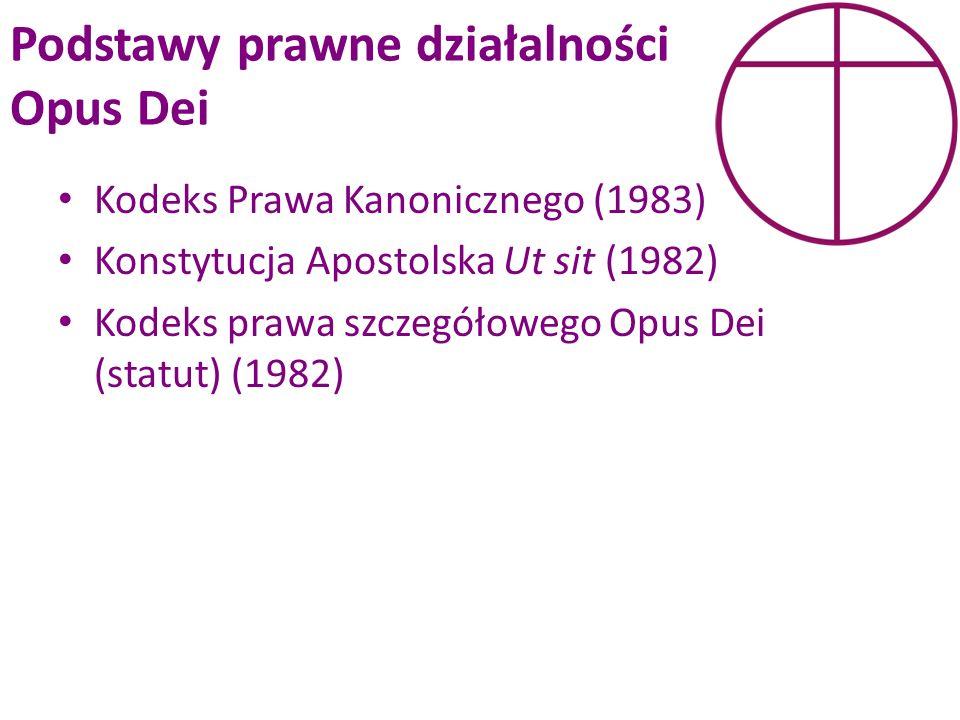 Podstawy prawne działalności Opus Dei Kodeks Prawa Kanonicznego (1983) Konstytucja Apostolska Ut sit (1982) Kodeks prawa szczegółowego Opus Dei (statu