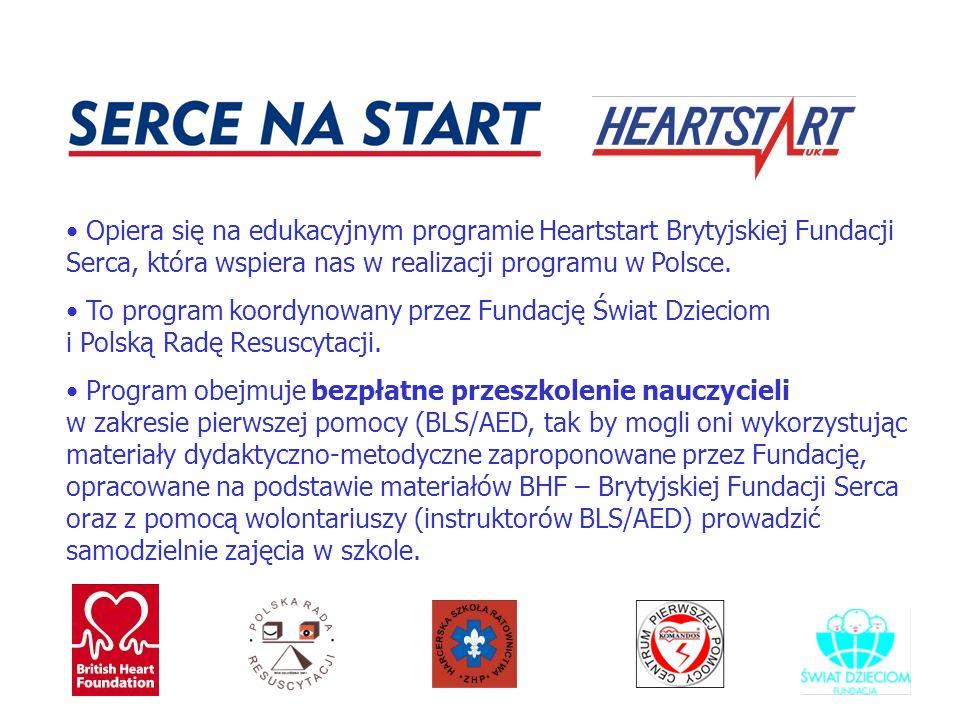 W roku szkolnym 2006/2007 zamierzamy przeprowadzić szkolenia dla około 380 nauczycieli i objąć programem 80 000 uczniów w województwach łódzkim, mazowieckim, śląskim i opolskim Zamierzamy wydrukować około 80 000 nowych książeczek i plakatów dla dzieci uwzględniających najnowsze wytyczne Europejskiej Rady Resuscytacji Program SERCE NA START jest współfinansowany ze środków FIO (Fundusz Inicjatyw Społecznych)