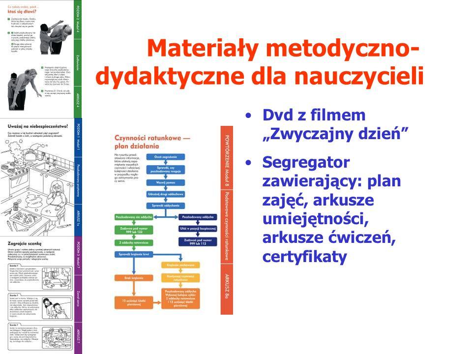 Materiały metodyczno- dydaktyczne dla nauczycieli Dvd z filmem Zwyczajny dzień Segregator zawierający: plan zajęć, arkusze umiejętności, arkusze ćwiczeń, certyfikaty