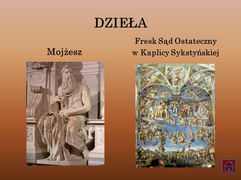 DZIEŁA Mojżesz Fresk Sąd Ostateczny w Kaplicy Sykstyńskiej
