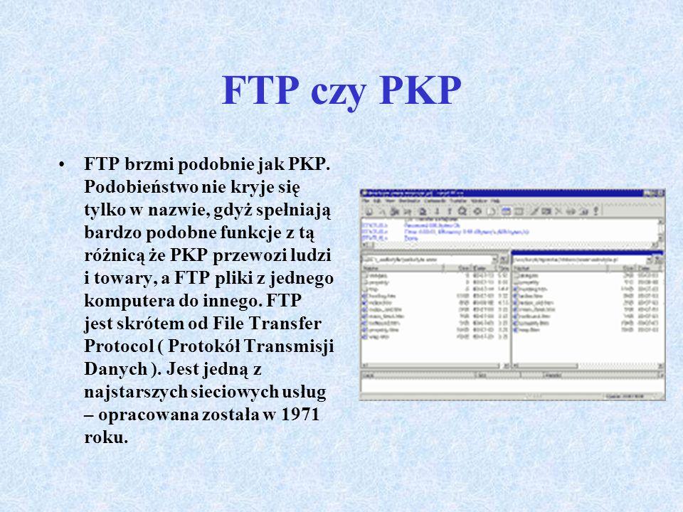 Podstawowe usługi Internetu c.d. Ftp FTP to skrót od File Transfer Protocol (protokół przesyłania plików). FTP można wykorzystać do przesyłania własny