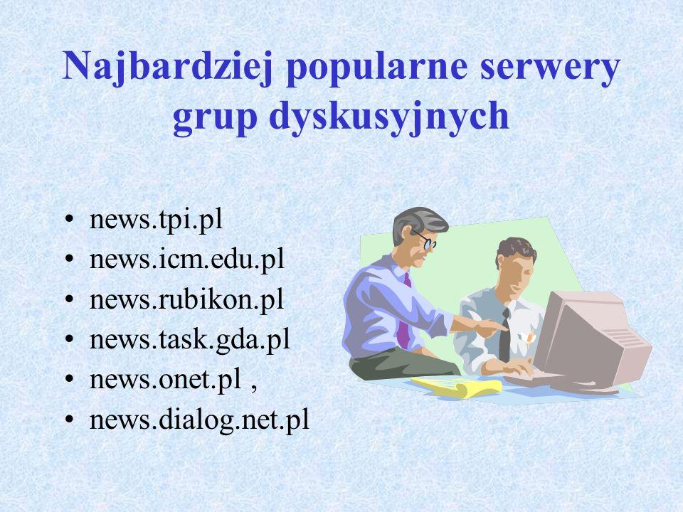 Podstawowe usługi Internetu c.d. Usługa Usenet zwana także grupami dyskusyjnymi lub newsgrupami, umożliwia komunikację z wieloma użytkownikami jednocz