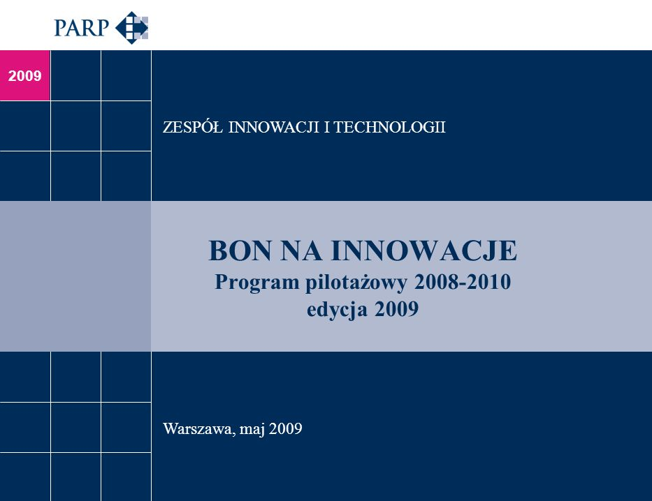 2009 BON NA INNOWACJE Program pilotażowy 2008-2010 edycja 2009 ZESPÓŁ INNOWACJI I TECHNOLOGII Warszawa, maj 2009