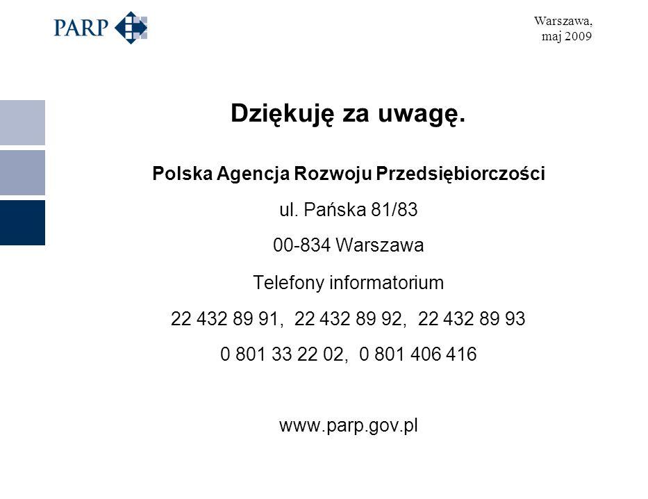 Warszawa, maj 2009 Dziękuję za uwagę. Polska Agencja Rozwoju Przedsiębiorczości ul.