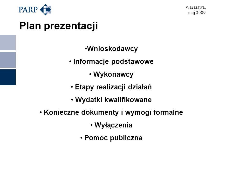 Warszawa, maj 2009 Plan prezentacji Wnioskodawcy Informacje podstawowe Wykonawcy Etapy realizacji działań Wydatki kwalifikowane Konieczne dokumenty i wymogi formalne Wyłączenia Pomoc publiczna