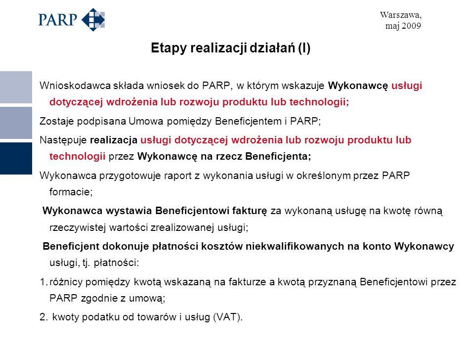 Warszawa, maj 2009 Etapy realizacji działań (I) Wnioskodawca składa wniosek do PARP, w którym wskazuje Wykonawcę usługi dotyczącej wdrożenia lub rozwoju produktu lub technologii; Zostaje podpisana Umowa pomiędzy Beneficjentem i PARP; Następuje realizacja usługi dotyczącej wdrożenia lub rozwoju produktu lub technologii przez Wykonawcę na rzecz Beneficjenta; Wykonawca przygotowuje raport z wykonania usługi w określonym przez PARP formacie; Wykonawca wystawia Beneficjentowi fakturę za wykonaną usługę na kwotę równą rzeczywistej wartości zrealizowanej usługi; Beneficjent dokonuje płatności kosztów niekwalifikowanych na konto Wykonawcy usługi, tj.