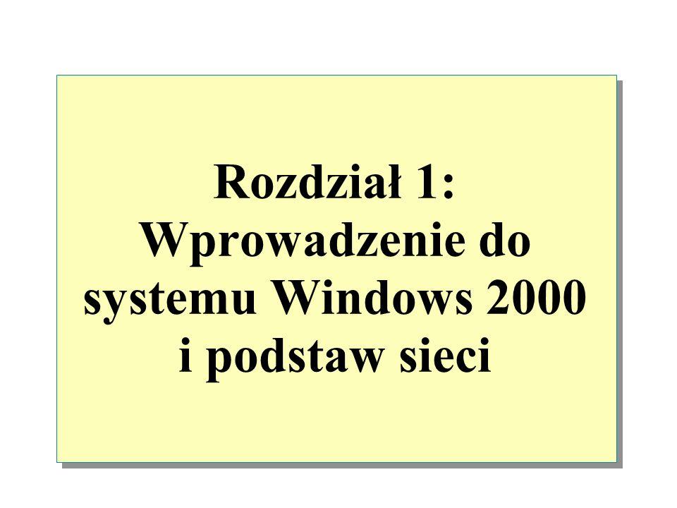 Rozdział 1: Wprowadzenie do systemu Windows 2000 i podstaw sieci