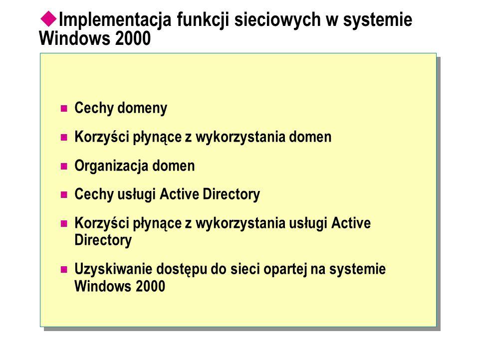 Implementacja funkcji sieciowych w systemie Windows 2000 Cechy domeny Korzyści płynące z wykorzystania domen Organizacja domen Cechy usługi Active Dir