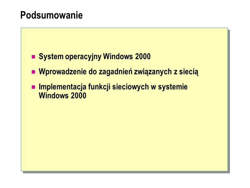 Podsumowanie System operacyjny Windows 2000 Wprowadzenie do zagadnień związanych z siecią Implementacja funkcji sieciowych w systemie Windows 2000