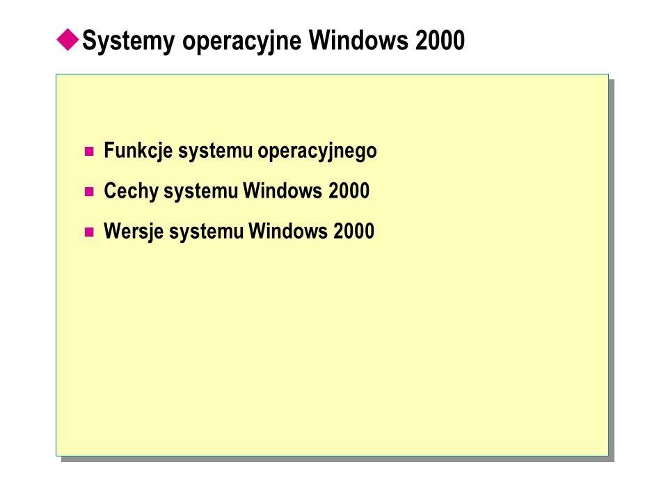 Systemy operacyjne Windows 2000 Funkcje systemu operacyjnego Cechy systemu Windows 2000 Wersje systemu Windows 2000