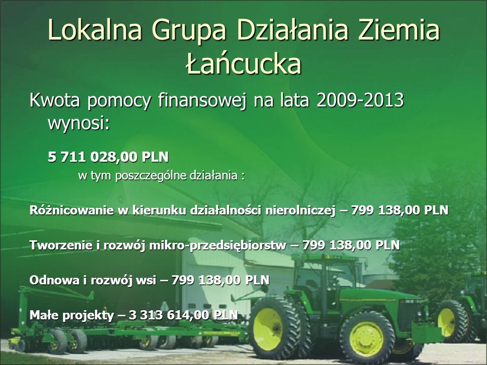 Lokalna Grupa Działania Ziemia Łańcucka Kwota pomocy finansowej na lata 2009-2013 wynosi: 5 711 028,00 PLN w tym poszczególne działania : Różnicowanie