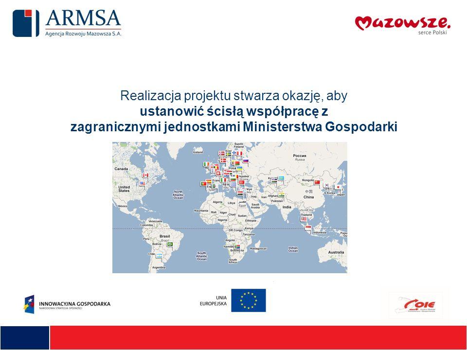 Realizacja projektu stwarza okazję, aby ustanowić ścisłą współpracę z zagranicznymi jednostkami Ministerstwa Gospodarki