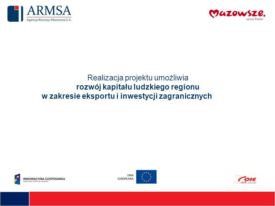 Realizacja projektu umożliwia rozwój kapitału ludzkiego regionu w zakresie eksportu i inwestycji zagranicznych
