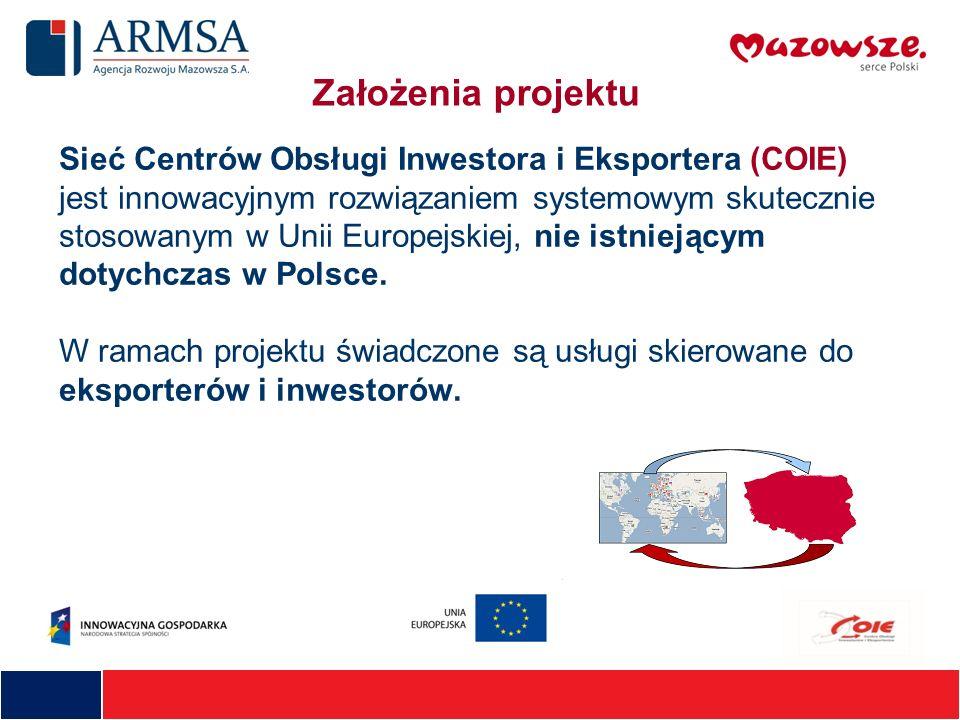 Sieć Centrów Obsługi Inwestora i Eksportera (COIE) jest innowacyjnym rozwiązaniem systemowym skutecznie stosowanym w Unii Europejskiej, nie istniejący