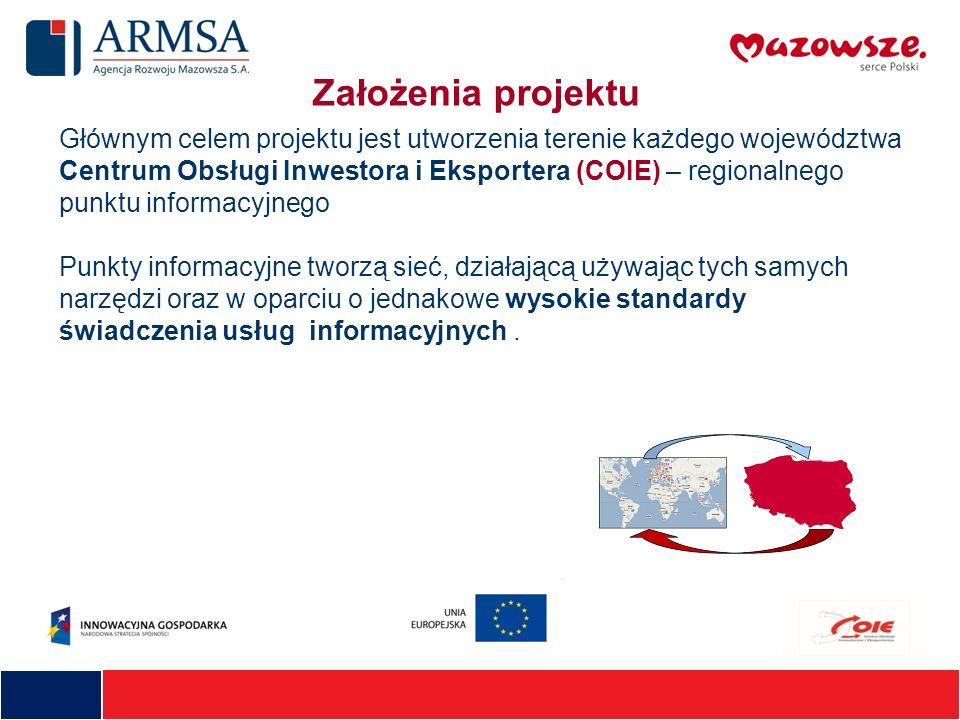 Głównym celem projektu jest utworzenia terenie każdego województwa Centrum Obsługi Inwestora i Eksportera (COIE) – regionalnego punktu informacyjnego