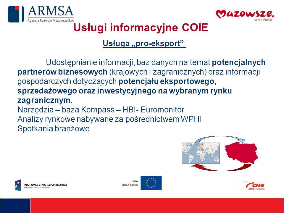 Usługi informacyjne COIE Usługa pro-eksport: Udostępnianie informacji, baz danych na temat potencjalnych partnerów biznesowych (krajowych i zagraniczn