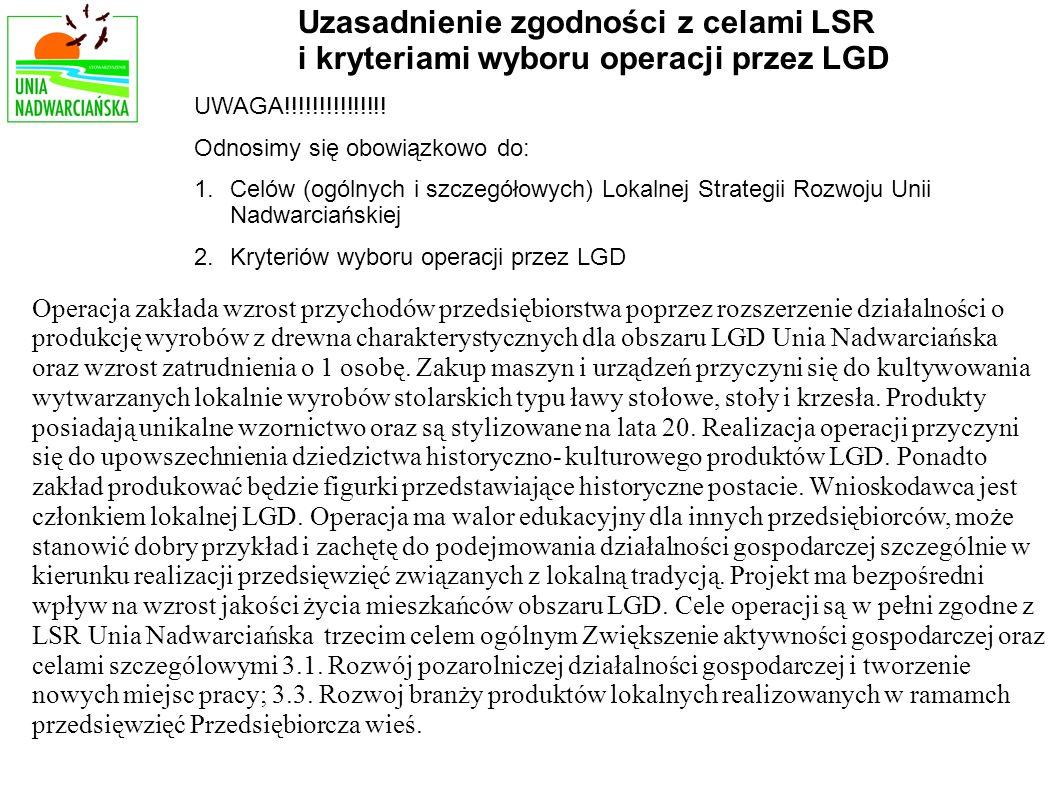 Operacja zakłada wzrost przychodów przedsiębiorstwa poprzez rozszerzenie działalności o produkcję wyrobów z drewna charakterystycznych dla obszaru LGD Unia Nadwarciańska oraz wzrost zatrudnienia o 1 osobę.