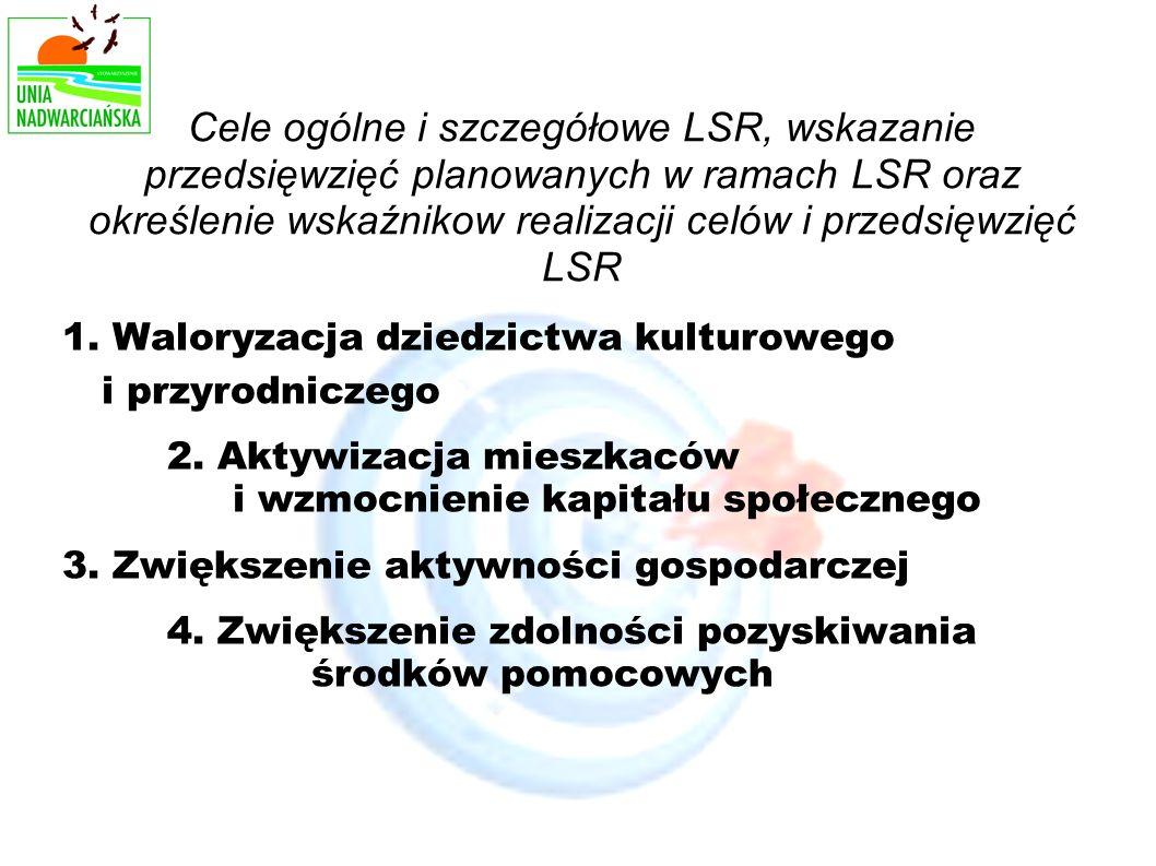 Cele ogólne i szczegółowe LSR, wskazanie przedsięwzięć planowanych w ramach LSR oraz określenie wskaźnikow realizacji celów i przedsięwzięć LSR 1.