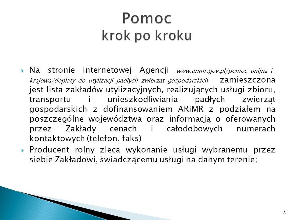Na stronie internetowej Agencji www.arimr.gov.pl/pomoc-unijna-i- krajowa/doplaty-do-utylizacji-padlych-zwierzat-gospodarskich zamieszczona jest lista zakładów utylizacyjnych, realizujących usługi zbioru, transportu i unieszkodliwiania padłych zwierząt gospodarskich z dofinansowaniem ARiMR z podziałem na poszczególne województwa oraz informacją o oferowanych przez Zakłady cenach i całodobowych numerach kontaktowych (telefon, faks) Producent rolny zleca wykonanie usługi wybranemu przez siebie Zakładowi, świadczącemu usługi na danym terenie; 8