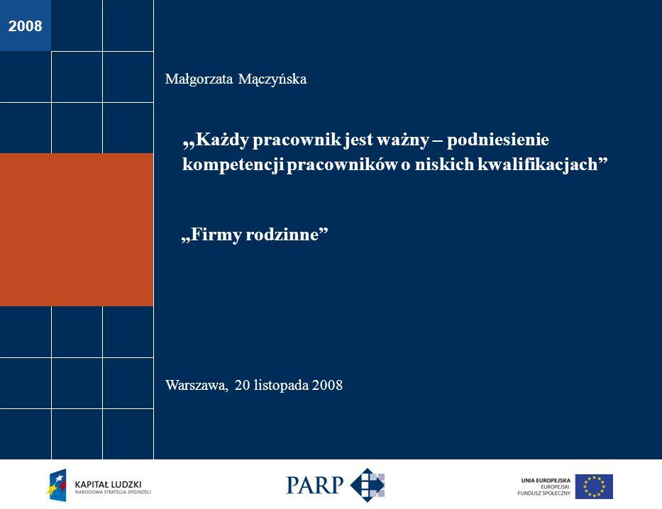 2008 Małgorzata Mączyńska Warszawa, 20 listopada 2008 Firmy rodzinne Każdy pracownik jest ważny – podniesienie kompetencji pracowników o niskich kwali
