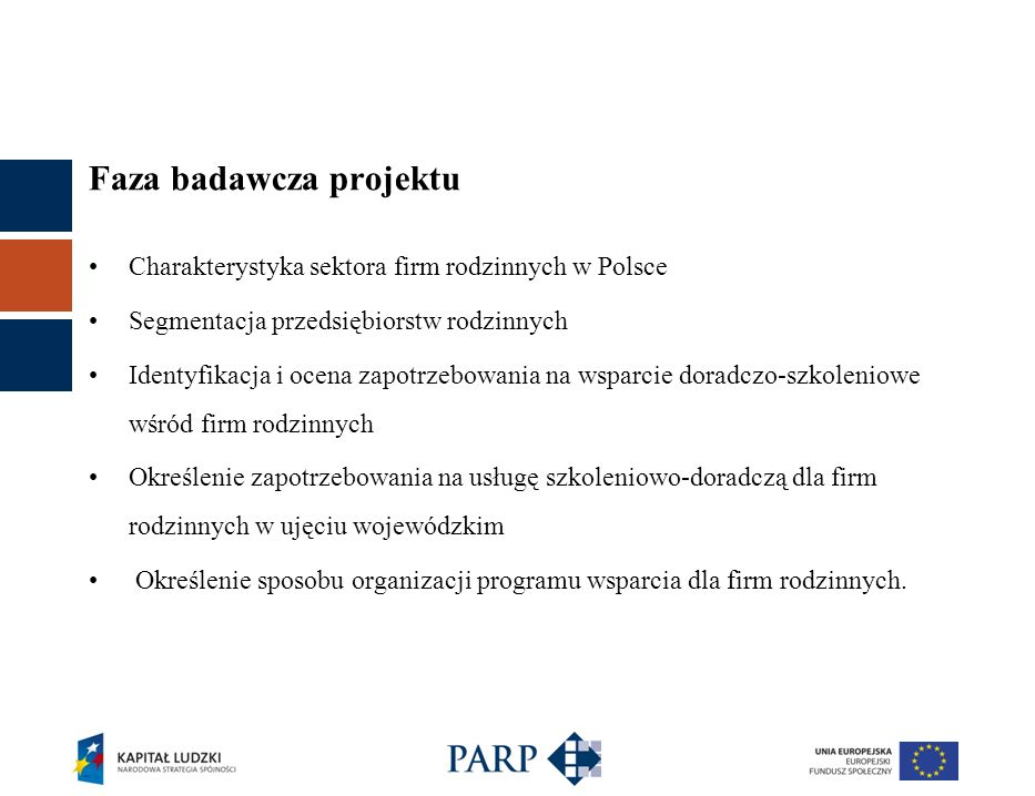 Faza badawcza projektu Charakterystyka sektora firm rodzinnych w Polsce Segmentacja przedsiębiorstw rodzinnych Identyfikacja i ocena zapotrzebowania n