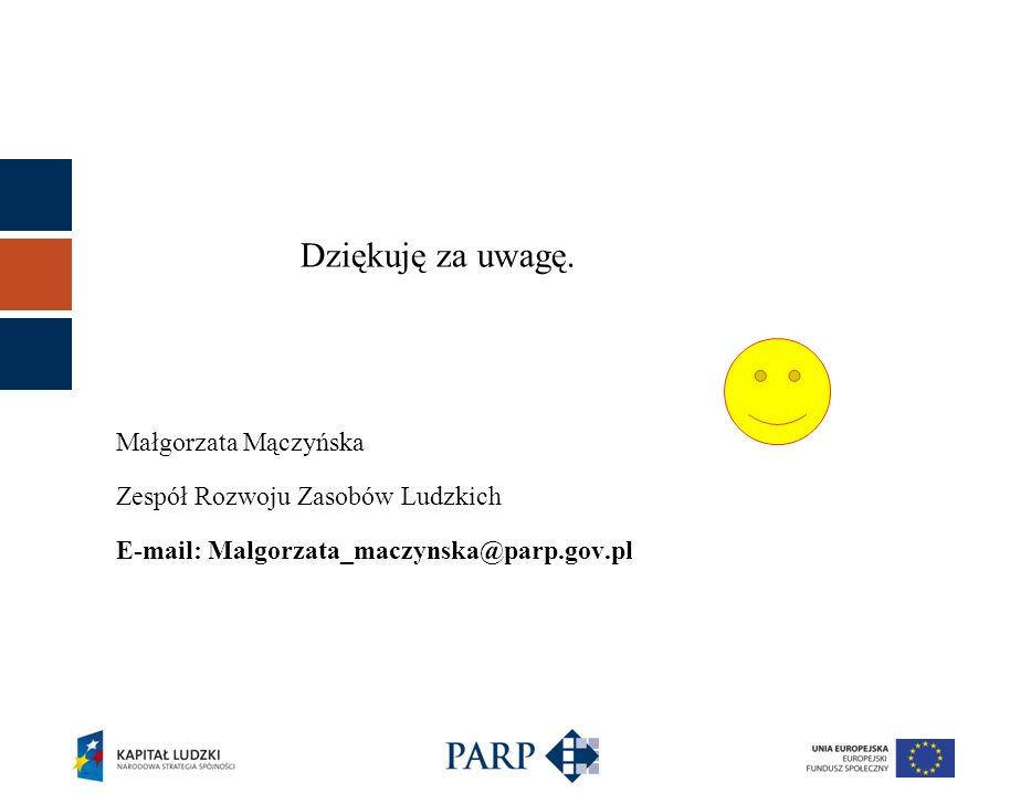 Dziękuję za uwagę. Małgorzata Mączyńska Zespół Rozwoju Zasobów Ludzkich E-mail: Malgorzata_maczynska@parp.gov.pl