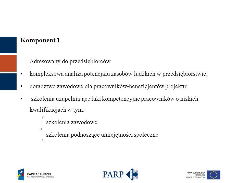 Komponent 1 Adresowany do przedsiębiorców kompleksowa analiza potencjału zasobów ludzkich w przedsiębiorstwie; doradztwo zawodowe dla pracowników-bene