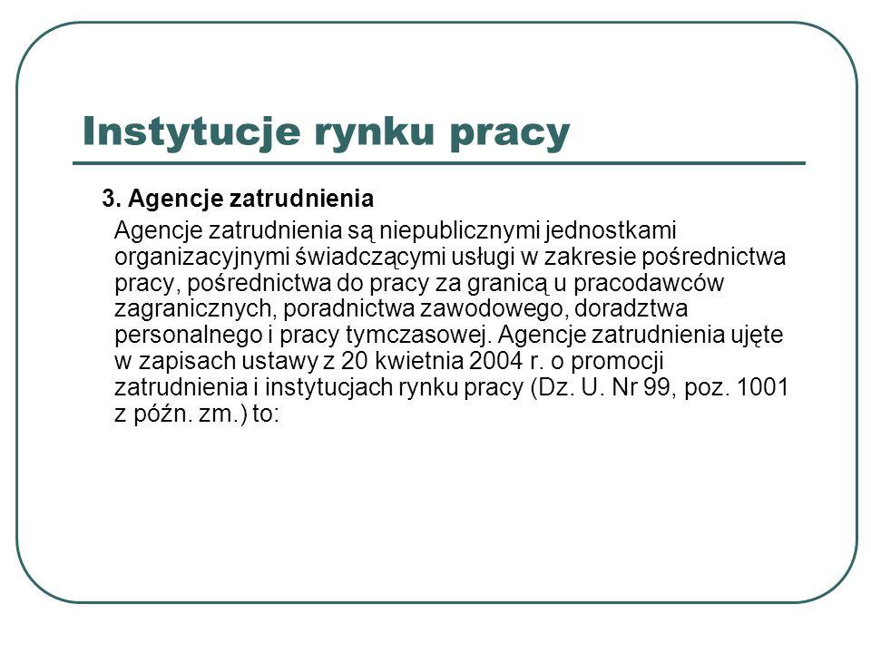 Instytucje rynku pracy a) Agencje pośrednictwa pracy - zajmują się pośrednictwem pracy na terenie Polski oraz pośrednictwem do pracy za granicą u pracodawców zagranicznych, - udzielają pomocy bezrobotnym i poszukującym pracy, w tym również niezarejestrowanym w urzędzie pracy, w uzyskaniu odpowiedniego zatrudnienia, a pracodawcom w znalezieniu pracowników o odpowiednich kwalifikacjach.