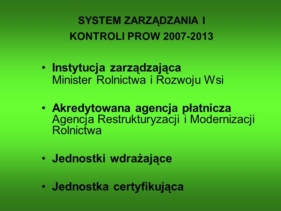 Instytucja zarządzająca Minister Rolnictwa i Rozwoju Wsi Akredytowana agencja płatnicza Agencja Restrukturyzacji i Modernizacji Rolnictwa Jednostki wd