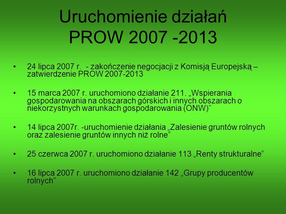 Uruchomienie działań PROW 2007 -2013 24 lipca 2007 r. - zakończenie negocjacji z Komisją Europejską – zatwierdzenie PROW 2007-2013 15 marca 2007 r. ur