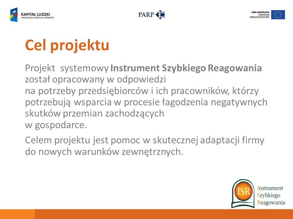Cel projektu Projekt systemowy Instrument Szybkiego Reagowania został opracowany w odpowiedzi na potrzeby przedsiębiorców i ich pracowników, którzy po
