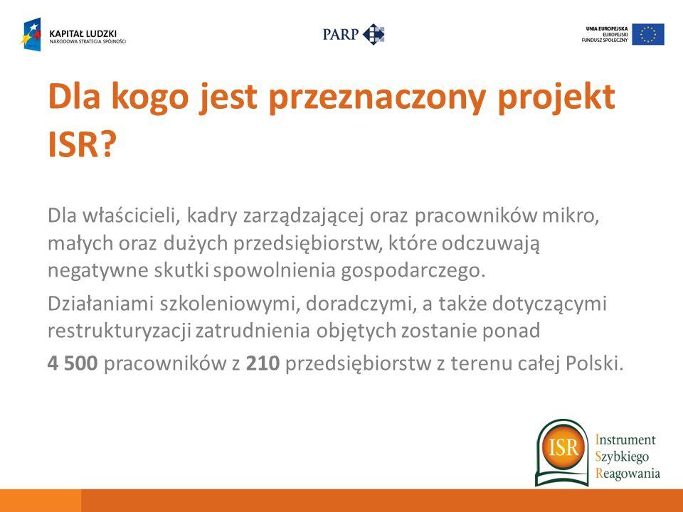 Dla kogo jest przeznaczony projekt ISR? Dla właścicieli, kadry zarządzającej oraz pracowników mikro, małych oraz dużych przedsiębiorstw, które odczuwa