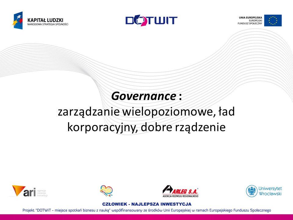 Governance : zarządzanie wielopoziomowe, ład korporacyjny, dobre rządzenie
