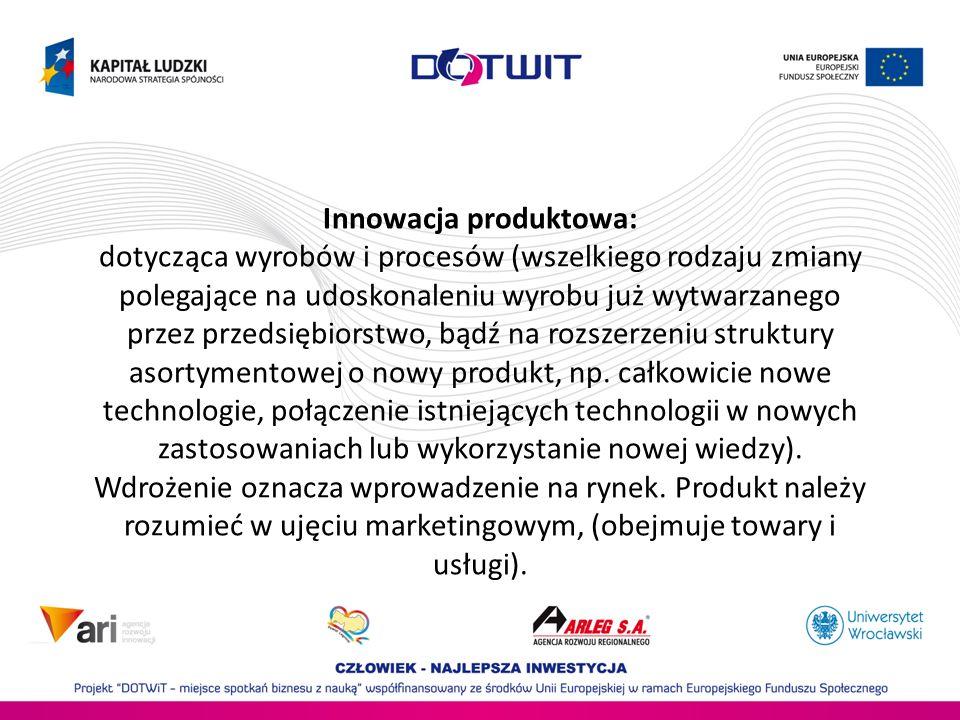 Innowacja produktowa: dotycząca wyrobów i procesów (wszelkiego rodzaju zmiany polegające na udoskonaleniu wyrobu już wytwarzanego przez przedsiębiorst