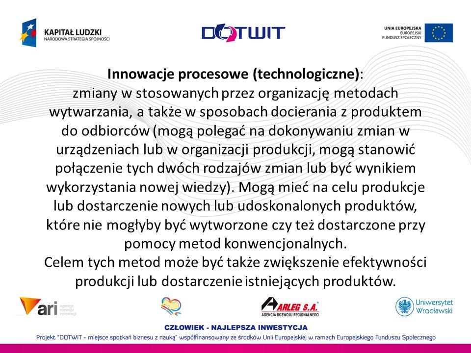 Innowacje procesowe (technologiczne): zmiany w stosowanych przez organizację metodach wytwarzania, a także w sposobach docierania z produktem do odbio