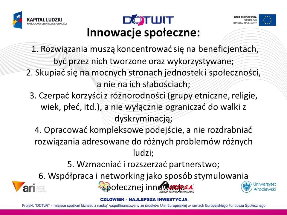 Innowacje społeczne: 1. Rozwiązania muszą koncentrować się na beneficjentach, być przez nich tworzone oraz wykorzystywane; 2. Skupiać się na mocnych s