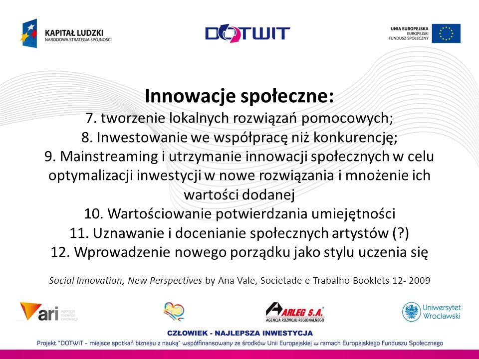 Innowacje społeczne: 7. tworzenie lokalnych rozwiązań pomocowych; 8. Inwestowanie we współpracę niż konkurencję; 9. Mainstreaming i utrzymanie innowac
