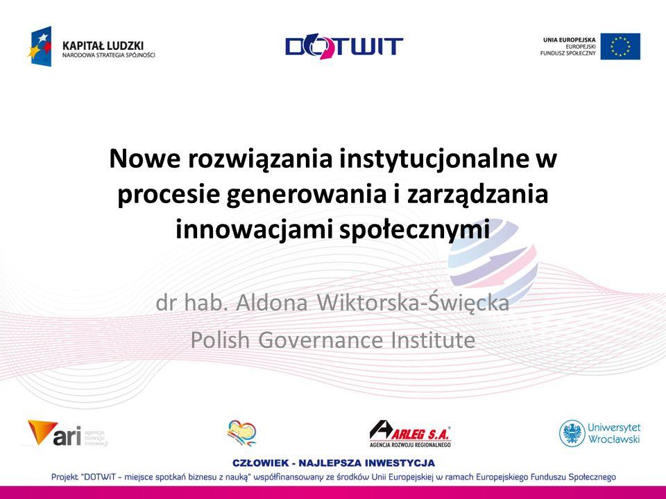 Nowe rozwiązania instytucjonalne w procesie generowania i zarządzania innowacjami społecznymi dr hab. Aldona Wiktorska-Święcka Polish Governance Insti