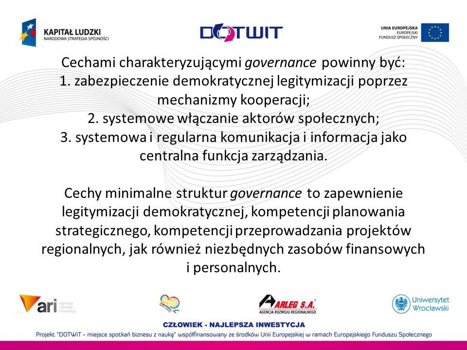 Cechami charakteryzującymi governance powinny być: 1. zabezpieczenie demokratycznej legitymizacji poprzez mechanizmy kooperacji; 2. systemowe włączani