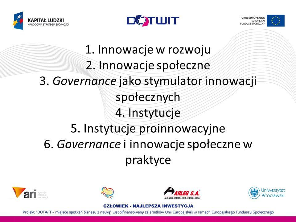1. Innowacje w rozwoju 2. Innowacje społeczne 3. Governance jako stymulator innowacji społecznych 4. Instytucje 5. Instytucje proinnowacyjne 6. Govern