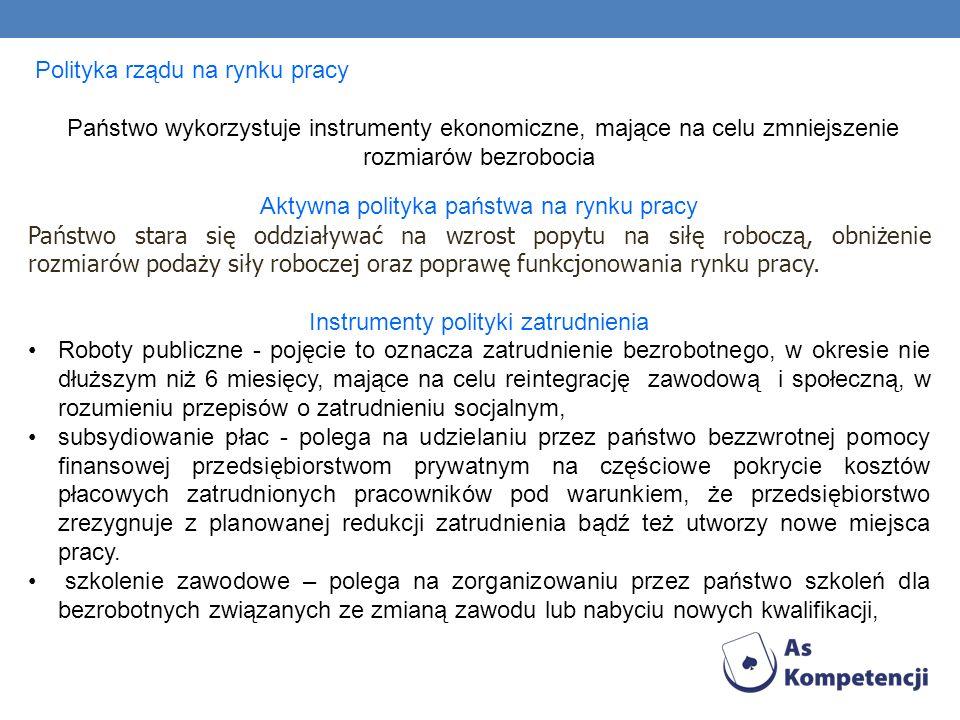 Polityka rządu na rynku pracy Państwo wykorzystuje instrumenty ekonomiczne, mające na celu zmniejszenie rozmiarów bezrobocia Aktywna polityka państwa