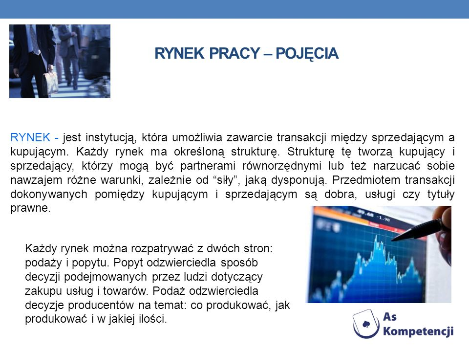 RYNEK PRACY – POJĘCIA RYNEK - jest instytucją, która umożliwia zawarcie transakcji między sprzedającym a kupującym. Każdy rynek ma określoną strukturę