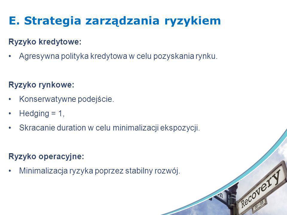 E. Strategia zarządzania ryzykiem Ryzyko kredytowe: Agresywna polityka kredytowa w celu pozyskania rynku. Ryzyko rynkowe: Konserwatywne podejście. Hed