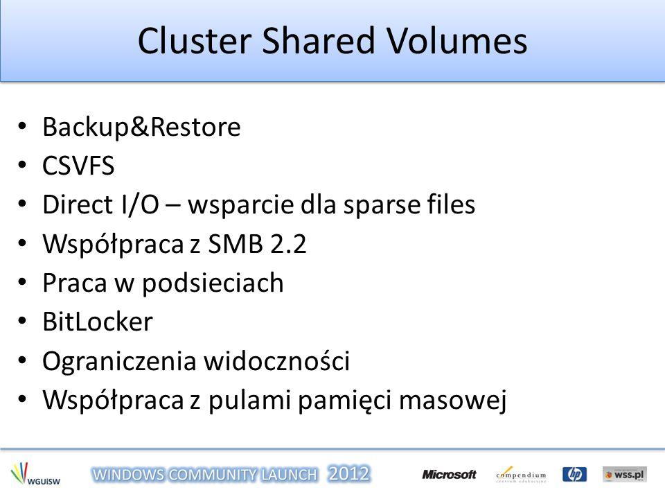 Cluster Shared Volumes Backup&Restore CSVFS Direct I/O – wsparcie dla sparse files Współpraca z SMB 2.2 Praca w podsieciach BitLocker Ograniczenia wid