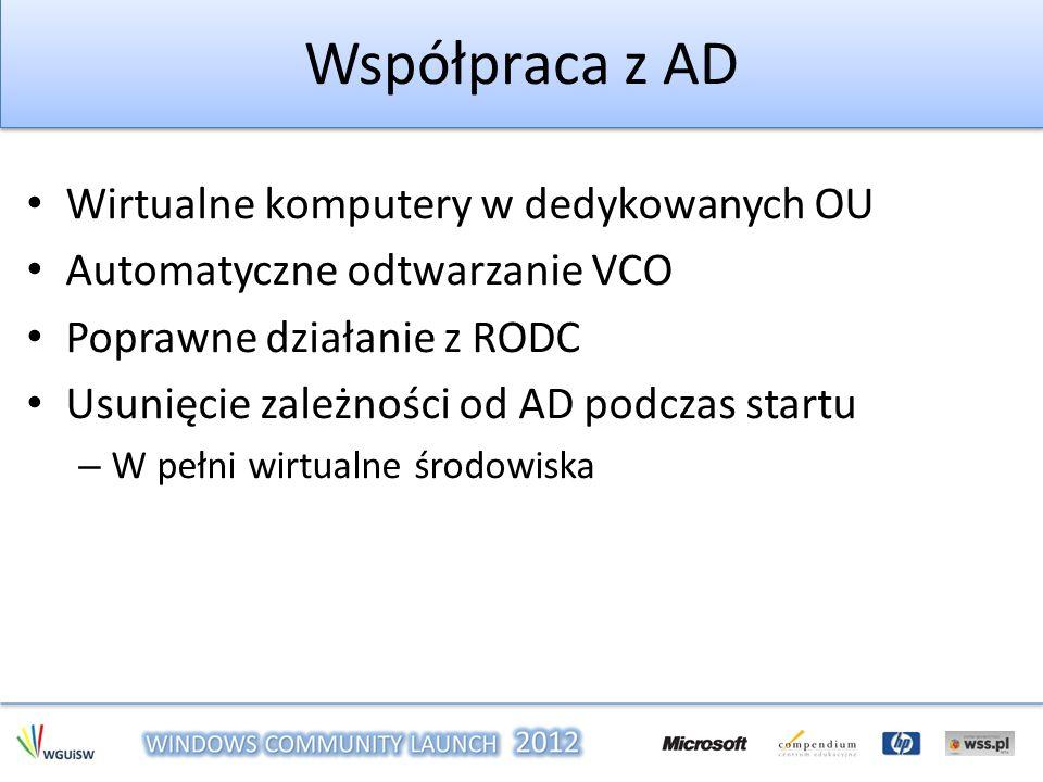 Współpraca z AD Wirtualne komputery w dedykowanych OU Automatyczne odtwarzanie VCO Poprawne działanie z RODC Usunięcie zależności od AD podczas startu