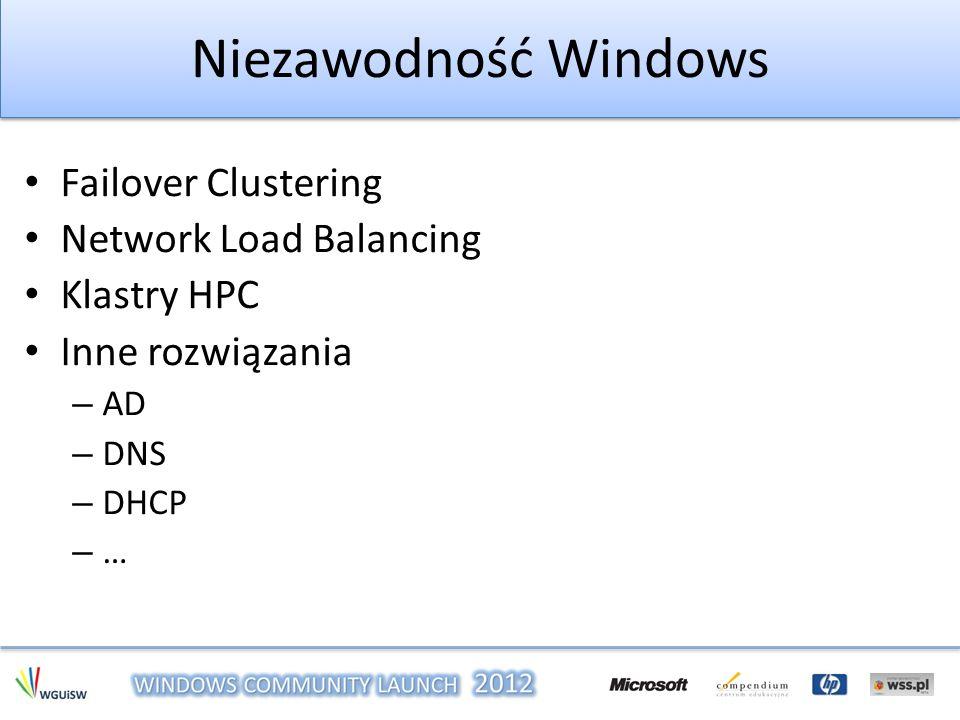 Niezawodność Windows Failover Clustering Network Load Balancing Klastry HPC Inne rozwiązania – AD – DNS – DHCP – …