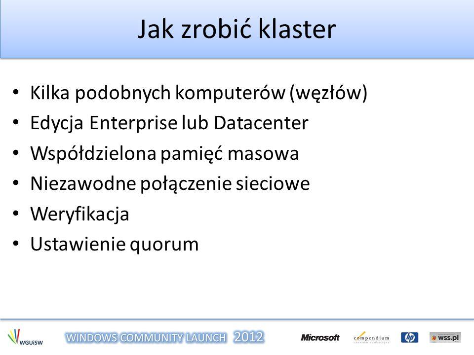 Jak zrobić klaster Kilka podobnych komputerów (węzłów) Edycja Enterprise lub Datacenter Współdzielona pamięć masowa Niezawodne połączenie sieciowe Wer